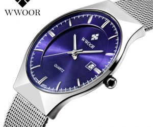 Đồng hồ nam chống nước mặt 30mm WWOOR siêu mỏng dây kim loại