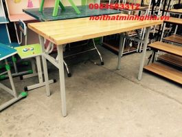 bàn gấp khung sắt 120x60 BOV1206 gỗ tự nhiên