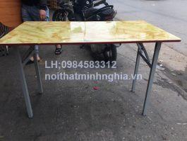 bàn ăn chân gấp bụng 140x80x75