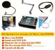 Bộ Micro thu âm Live Stream AMI BM900 + Sound Card XOX K10 và phụ kiện