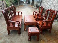 Bộ bàn ghế triện gỗ hương vân cột 10