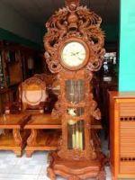 Đồng hồ tứ linh gỗ hương vân