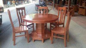 Bộ Bàn Ăn Tròn gỗ xoan đào 6 ghế