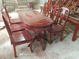 Bộ Bàn Ăn Bầu Dục Yếm cong 6 ghế