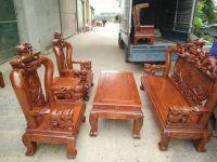 Bộ Bàn Ghế Nghê Đỉnh Cột 12 gỗ hương vân