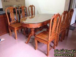 Bộ Bàn Ăn Bầu Dục Gỗ Hương Vân 1m6 * 90 6 ghế