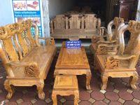 Bộ Bàn Ghế Phòng Khách Tứ Linh Cột 12 Gỗ Lim