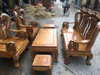 Bộ bàn ghế phòng khách hoa lá tây  cột 12  Gỗ Lim