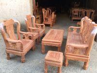 Bàn ghế phòng khách - Quốc triện gỗ hương đá tay 10