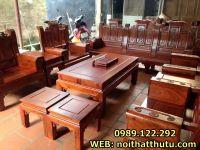 Bộ Bàn Ghế Gỗ Chương Cuốn Thư 10 món gỗ hương vân