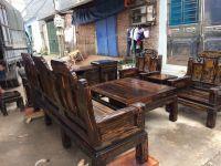 Bộ Bàn Ghế Phòng Khách - Hộp Âu Á Tay Thẻ Bài Đặc Gỗ Mun Sọc ( Lào)