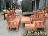 Bàn ghế phòng khách quốc đào tay 12 Gỗ Hương Đá
