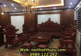 Bộ Bàn Ghế Rồng Đỉnh Gỗ Hương Đoản 2m3 gồm 12 món