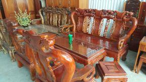 Bộ Minh đào gỗ xà cừ cột 10