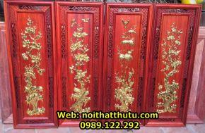 Bộ tranh tứ quý gỗ hương 37x107x3 cm