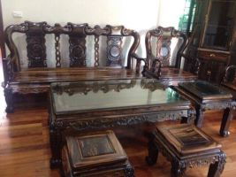 Bộ bàn ghế quốc triện tay 12 Gỗ Mun Sọc