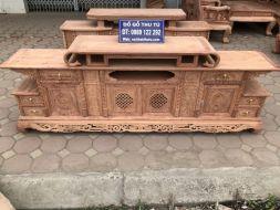 Kệ tivi vòm gỗ hương đá 2m4| Đồ Gỗ Thu Tú