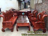 Bộ Bàn Ghế Phòng Khách Tần Thủy Hoàng Cột 12 Gỗ Hương Vân