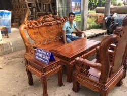 Bộ Bàn Ghế Nghê Đỉnh Tay 10 Gỗ Hương Vân