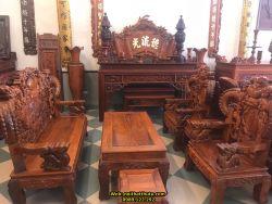 Đồ Gỗ Thu Tú - bộ bàn ghế nghê đỉnh khuỳnh đục vẩy gỗ hương