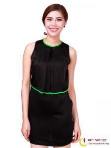 Đầm lụa kiểu phối viền thời trang