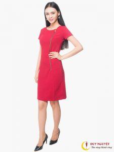 Đầm suông đỏ dây kéo một bên
