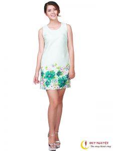 Đầm Suông hoạ tiết hoa chân váy