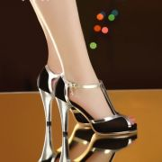 Giày cao gót lưới phối viền da cao cấp