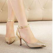Giày cao gót mũi kim loại cao cấp