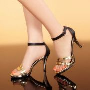 Giày cao gót Siletto quai mảnh vàng ánh kim