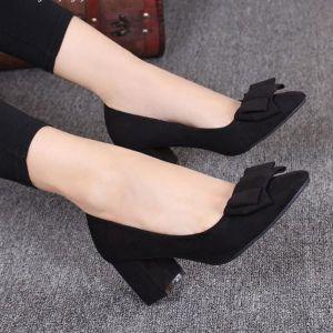 Giày nơ gót vuông cao cấp
