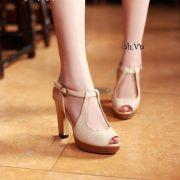 Giày cao gót vân gỗ cao cấp