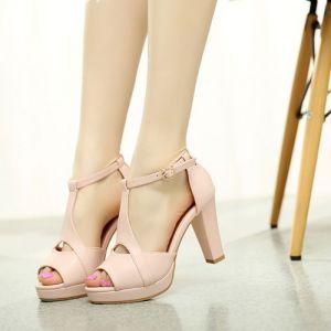 Giày gót vuông mũi tròn nơ 2 tầng cao cấp