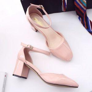 Giày gót vuông da bóng