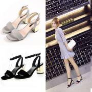 Giày sandal gót vuông ánh vàng cao 5cm