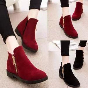 Giày bot dây cổ thấp dây kéo bên hông
