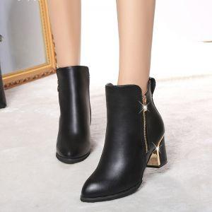 Giày bot da cổ cao dây kéo bên hông ( Hàng Nhập )