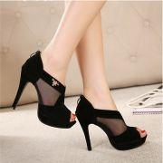 Giày cao gót lưới huy hiệu Fashion