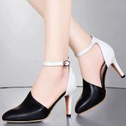 Giày cao gót phối trắng hồng