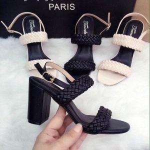 Giày cao gót 2 quai ngang tết sam
