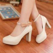 Giày cao gót mũi tròn quai cài nơ bên hông