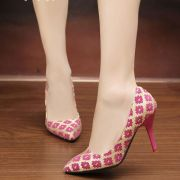 Giày Cao Gót Nữ Họa Tiết Bông Hoa