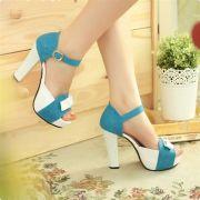 Giày cao gót nơ phối màu