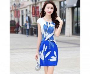 Đầm suông họa tiết lá xanh bắt mắt