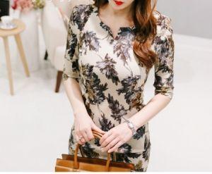 Đầm tay lỡ họa tiết hoa lá dáng Hàn