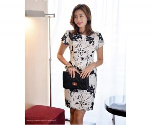 Đầm công sở họa tiết Suzy cao cấp