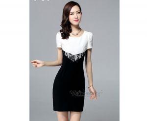 Đầm cao cấp phối màu trắng đen cao cấp