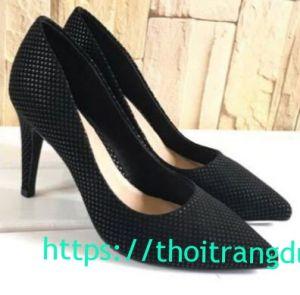 Giày cao gót đen mịn chấm bạc