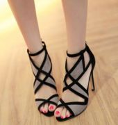 Giày cao gót lưới đan chéo