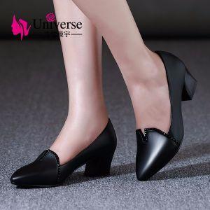 Giày da gót vuông cách điệu viền đá cao cấp